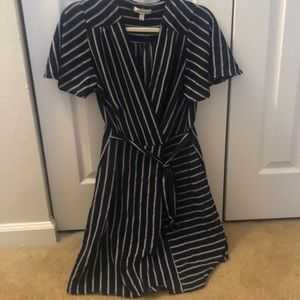 Striped Navy and White Wrap Dress